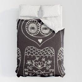 owl with glowing eyes Comforters