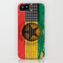 Old Vintage Acoustic Guitar with Ghana Flag iPhone Case