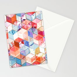 Coral, Cream and Cobalt Kaleidoscope Cubes Stationery Cards