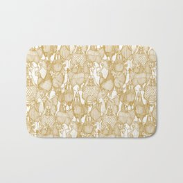 just chickens gold white Bath Mat