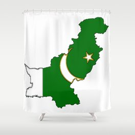 Pakistan Map with Pakistani Flag Shower Curtain