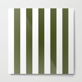 Army green - solid color - white vertical lines pattern Metal Print