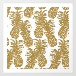 Gold Pineapples Art Print
