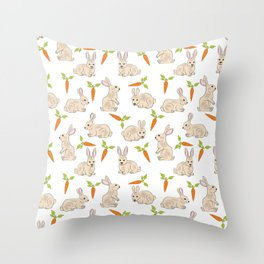 Cute Rabbit Neck Gator Carrot Bunny Throw Pillow