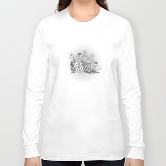 Zentangle Kids World - Black and White Illustration Long Sleeve T-shirt