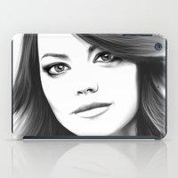 emma stone iPad Cases featuring Emma Stone minimalist digital portrait by Thubakabra