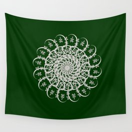 Mandala #104, Deep Green and White Wall Tapestry