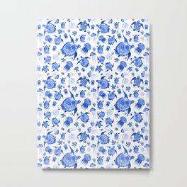 Ocean Life-Blue Palette Metal Print