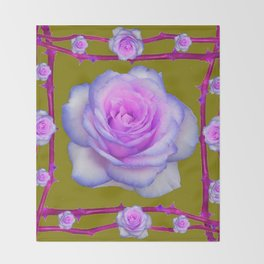 PINK-BLUE TINGED ROSES ON KHAKI COLOR Throw Blanket