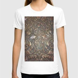 Golden Brown Carved Tooled Leather T-shirt
