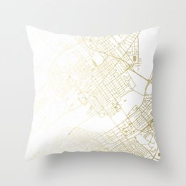 Wilkes-Barre Gold and White Map Throw Pillow