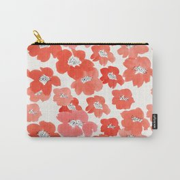 Camellia Flowers in Red Carry-All Pouch