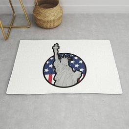 liberty, statue, american, usa, flag Rug
