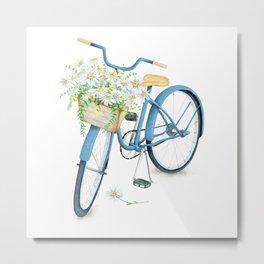 Vintage Blue Bicycle with Camomile Flowers Metal Print