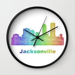 Rainbow Jacksonville skyline Wall Clock