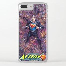 Super Man Geek Art Comic Collage Superhero Comic Art Clear iPhone Case