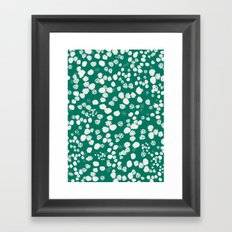 White splashes on green Framed Art Print