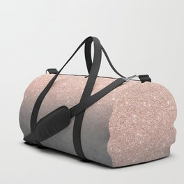 Rose gold glitter ombre grey cement concrete Duffle Bag