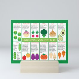 USA Seasonal Vegetables Chart Mini Art Print