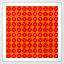 orange and flowers pattern II Art Print