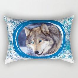 Blue-Eyed Wolf Rectangular Pillow