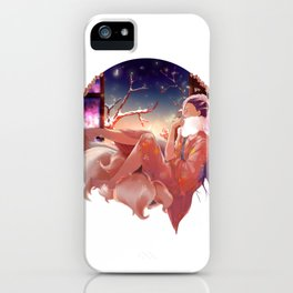 The kitsune and the firefly. iPhone Case