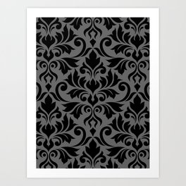 Flourish Damask Big Ptn Black on Gray Art Print