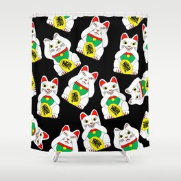 Funny Wise Lucky Rich Cats Shower Curtain