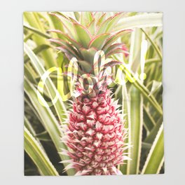 Pink Pineapple Aloha! Throw Blanket