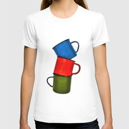 Vintage green, blue, red enamel mugs in modern look T-shirt