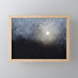 Glowing Moon in the night sky Framed Mini Art Print