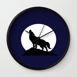Howling Moon Wolf Wall Clock