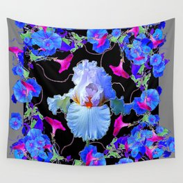 BLUE MORNING GLORIES & WHITE IRIS  SPRING  GARDEN ART Wall Tapestry