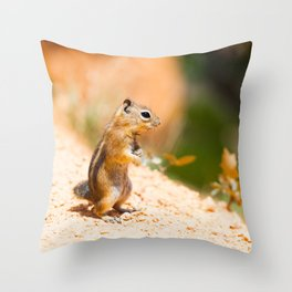 Tired Chipmunk Throw Pillow