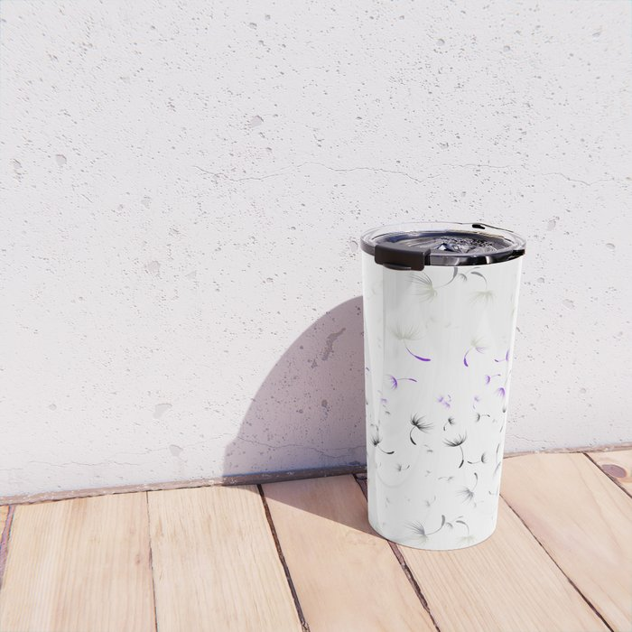 Dandelion Seeds Asexual Pride (white background) Travel Mug