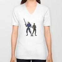 n7 V-neck T-shirts featuring Shepard and Garrus by Joe Byrne
