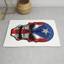 Puerto Rican Skull - Puerto Rico Pride Flag Rug