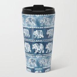 BEAR SPIRIT Indigo Watercolor California Bears Pattern Travel Mug