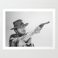 clint eastwood Art Prints featuring CLINT EASTWOOD by sefibz