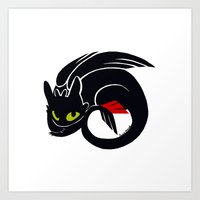 toothless Art Prints featuring Toothless by Annie Pollock
