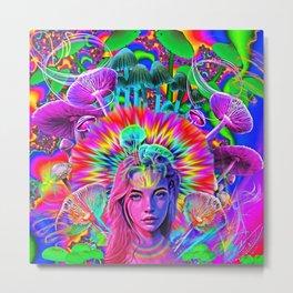 Psychedelic Rainbow Queen Metal Print