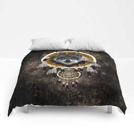 Indian Native Gray Wolf Dreamcatcher iPhone 4 5 6 7, ipod, ipad, pillow case and tshirt Comforters