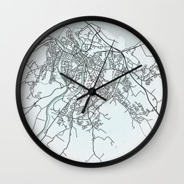Inverness, Scotland, White, City, Map Wall Clock