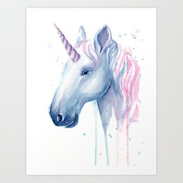 Blue Pink Unicorn Art Print