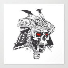 black and white samurai helmet with skull Canvas Print