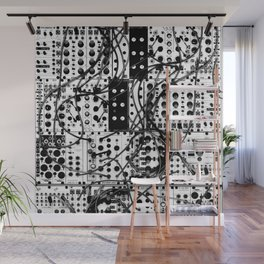 analog synthesizer system - modular black and white Wall Mural