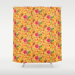 Tropical Fruit Festival in Yellow | Frutas Tropicales en Amarillo Shower Curtain