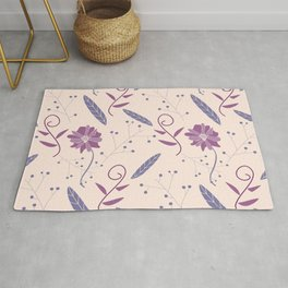 Colorful Purple and Pink Floral Feather Pattern Rug