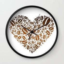 Coffee Bean Heart Wall Clock