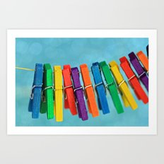 Colorful Clothespins Art Print